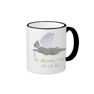 Angel Cat Dark Gray Blue Roses Guardian Angel Cat Ringer Coffee Mug
