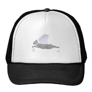 Angel Cat Dark Gray Blue Roses Trucker Hat