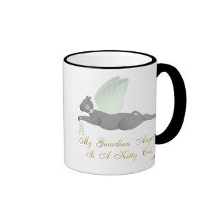 Angel Cat Dark Gray Green Roses Guardian Angel Kit Ringer Coffee Mug