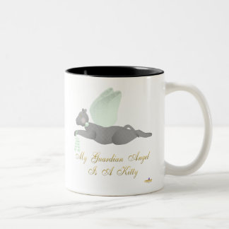Angel Cat Dark Gray Green Roses Guardian Angel Kit Two-Tone Coffee Mug