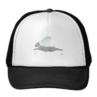 Angel Cat Dark Gray Green Roses Trucker Hat