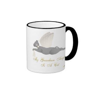 Angel Cat Dark Gray Orange Roses Guardian Angel Ca Ringer Coffee Mug