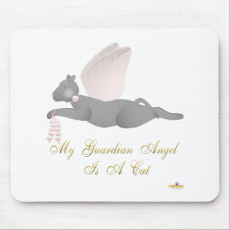Angel Cat Dark Gray Pink Roses Guardian Angel Cat Mouse Pad