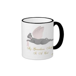 Angel Cat Dark Gray Pink Roses Guardian Angel Cat Ringer Mug