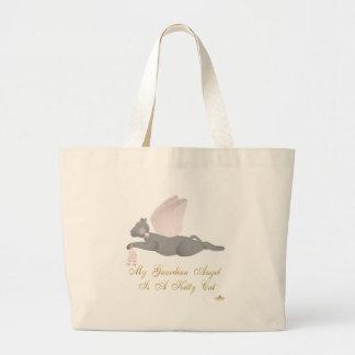 Angel Cat Dark Gray Pink Roses Guardian Angel Kitt Jumbo Tote Bag