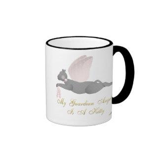 Angel Cat Dark Gray Pink Roses Guardian Angel Kitt Ringer Coffee Mug