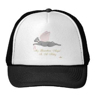 Angel Cat Dark Gray Pink Roses Guardian Angel Kitt Trucker Hat