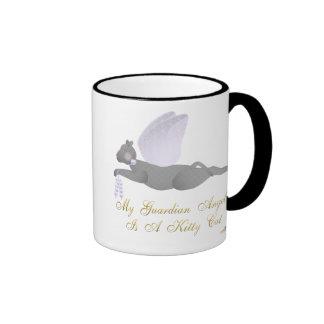 Angel Cat Dark Gray Purple Roses Guardian Angel Ki Ringer Coffee Mug
