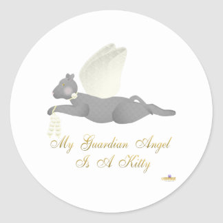 Angel Cat Dark Gray Yellow Roses Guardian Angel Ki Classic Round Sticker