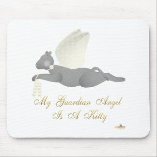 Angel Cat Dark Gray Yellow Roses Guardian Angel Ki Mouse Pad