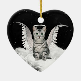 Angel Cat Gray Tabby Pet Memorial Ceramic Ornament