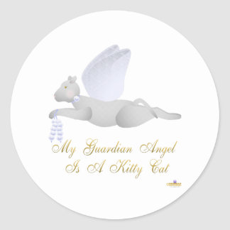 Angel Cat Light Gray Blue Roses Guardian Angel Kit Classic Round Sticker