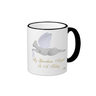 Angel Cat Light Gray Blue Roses Guardian Angel Kit Ringer Coffee Mug