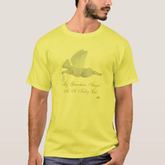 Angel Cat Light Gray Blue Roses Guardian Angel Kit T-Shirt