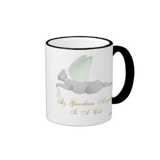 Angel Cat Light Gray Green Roses Guardian Angel Ca Ringer Coffee Mug