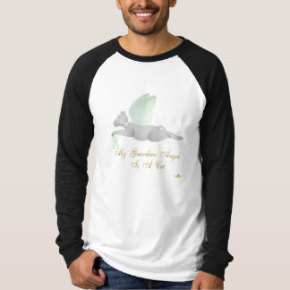 Angel Cat Light Gray Green Roses Guardian Angel Ca T-Shirt