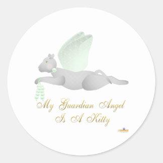Angel Cat Light Gray Green Roses Guardian Angel Ki Classic Round Sticker