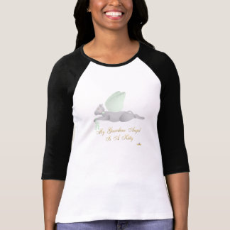Angel Cat Light Gray Green Roses Guardian Angel Ki T-Shirt