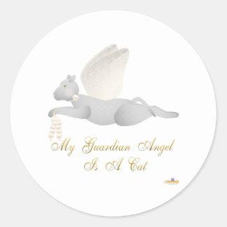 Angel Cat Light Gray Orange Roses Guardian Angel C Classic Round Sticker