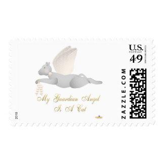Angel Cat Light Gray Orange Roses Guardian Angel C Stamp