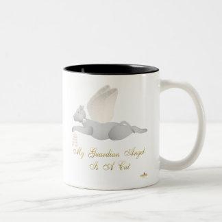 Angel Cat Light Gray Orange Roses Guardian Angel C Two-Tone Coffee Mug