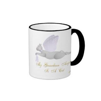 Angel Cat Light Gray Purple Roses Guardian Angel C Ringer Mug