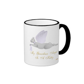Angel Cat Light Gray Purple Roses Guardian Angel K Ringer Coffee Mug