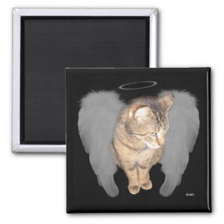 Angel Cat (Lucian) 2 Inch Square Magnet