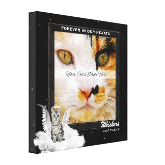 Angel Cat Pet Memorial Photo Canvas