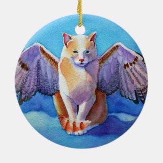 Angel Cat Red Tail Hawk Ceramic Ornament