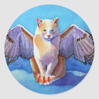 Angel Cat Red Tail Hawk Classic Round Sticker