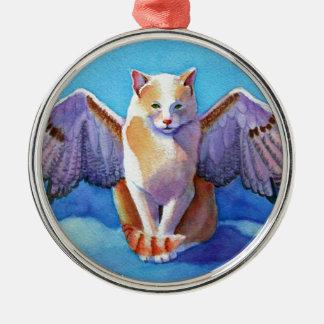 Angel Cat Red Tail Hawk Metal Ornament