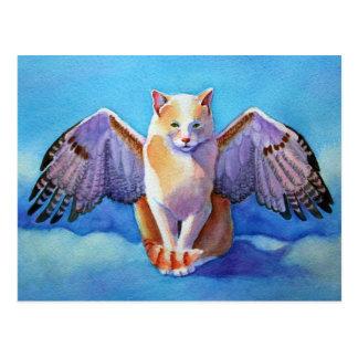 Angel Cat Red Tail Hawk Postcard