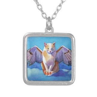 Angel Cat Red Tail Hawk Silver Plated Necklace