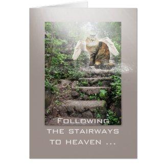 Angel Cat Stairway to Heaven Sympathy Card
