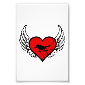 Angel Catbirds, Birds Silhouette Winged Heart Photo Print
