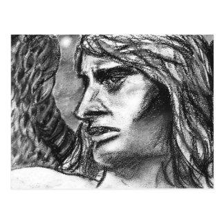 Angel Charcoal Drawing Art Design Postcard
