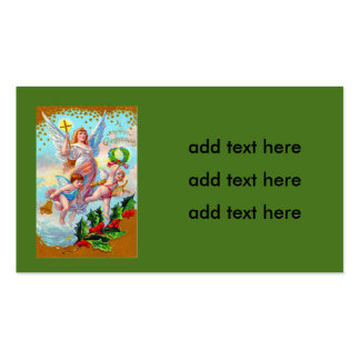 Angel Cherub Christian Cross Bell Wreath Holly Double-Sided Standard Business Cards (Pack Of 100)