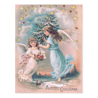 Angel Cherub Christmas Tree Apple Stars Postcard