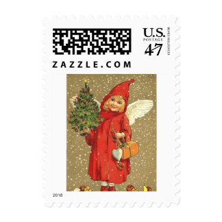 Angel Cherub Christmas Tree Snow Stamp