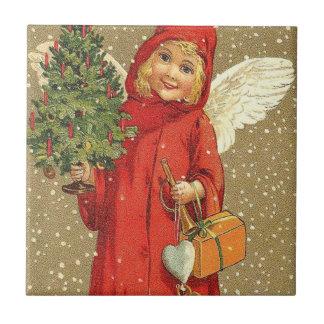 Angel Cherub Christmas Tree Snow Tile