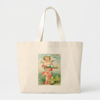 Angel Cherub Easter Chick Colored Egg Large Tote Bag