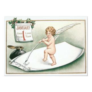 Angel Cherub Holly Calendar Resolution Letter Card