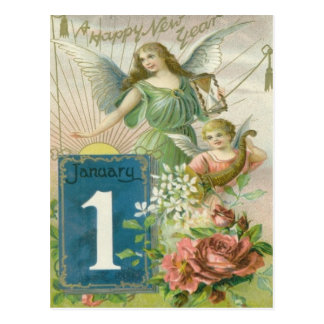 Angel Cherub Rose Cornucopia Sun Postcard