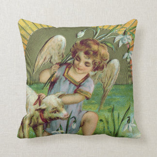 Angel Cherub Sun Lamb Sheep Throw Pillow