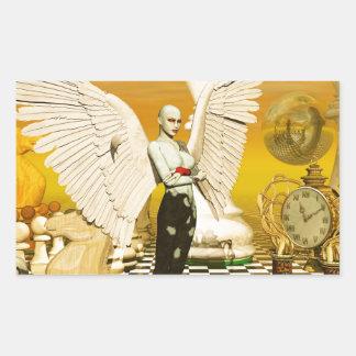 angel chess rectangular sticker
