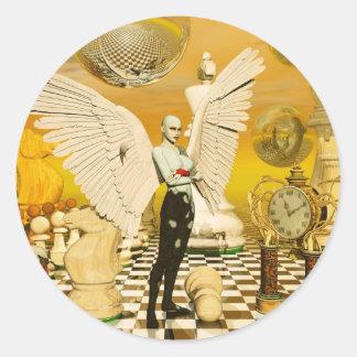 angel chess round sticker