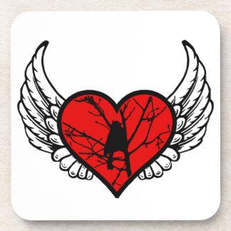 Angel chickadee, watching Birds winged Heart Beverage Coasters