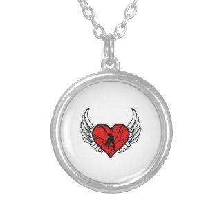 Angel Chickadee, watching Birds winged Heart Round Pendant Necklace
