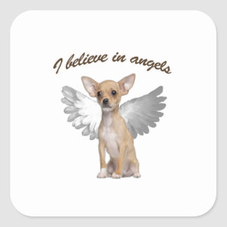 Angel Chihuahua Square Sticker